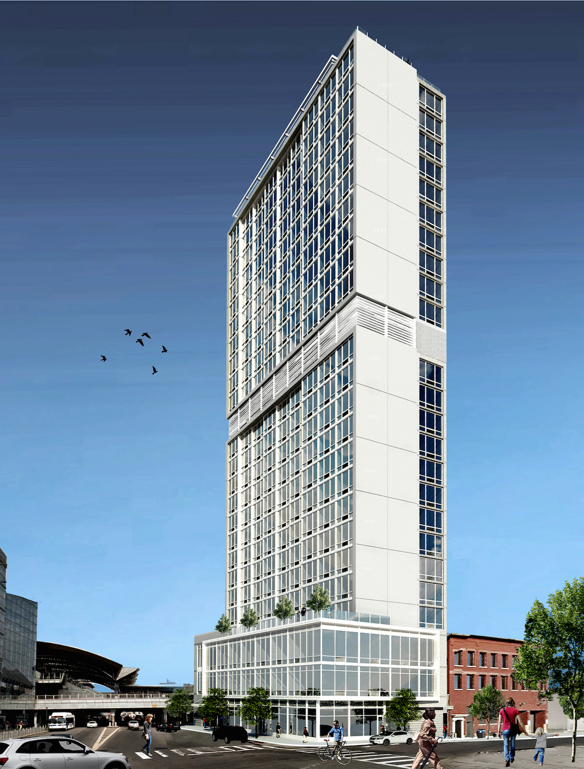 Hilton Garden Inn at 93-43 Sutphin Boulevard, rendering by GF55 Partners