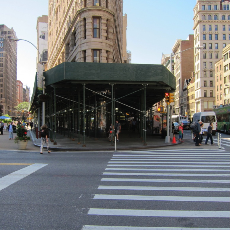 A sidewalk shed on the Flatiron Building, image via NYBC