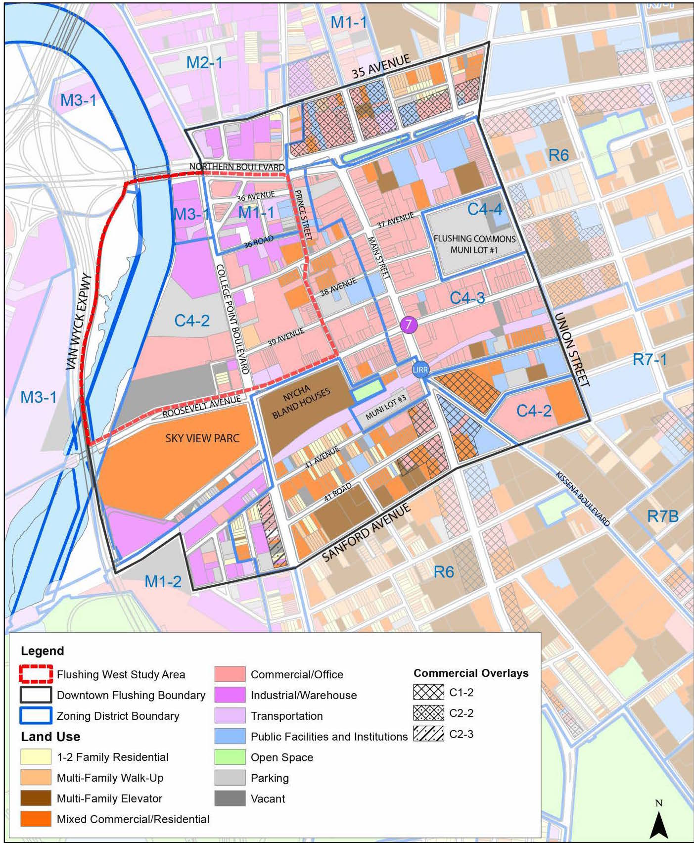 Flushing West zoning map by the Department of City Planning