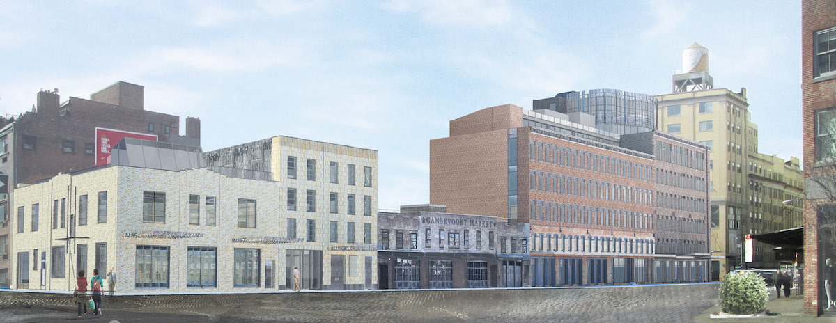 The view of 46-74 Gansevoort Street from Ninth Avenue, rendering by BKSK Architects