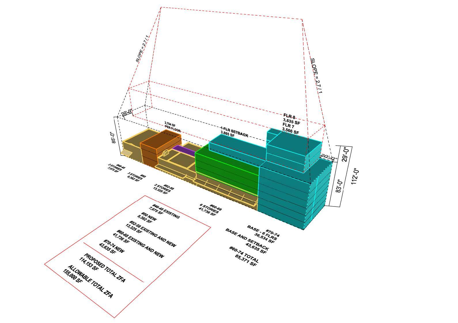 Massing diagram for 46-74 Gansevoort Street