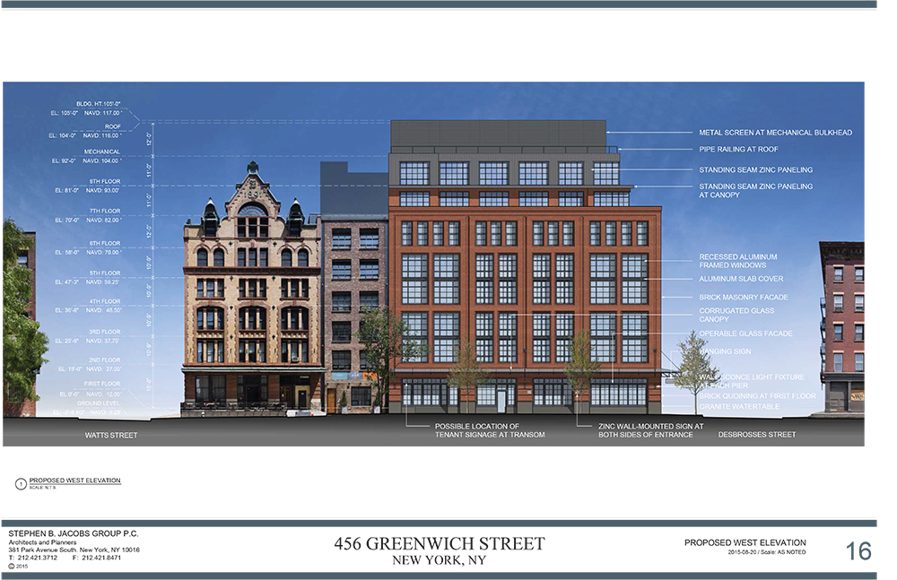 Approved design for 456 Greenwich Street, rendering by Stephen B. Jacobs