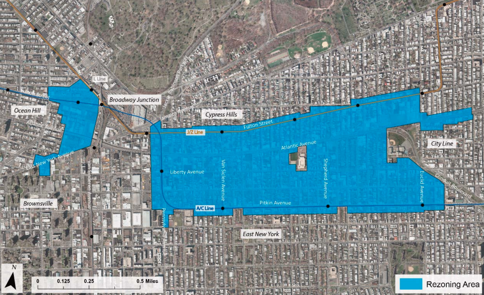 East New York rezoning map, image via Department of City Planning