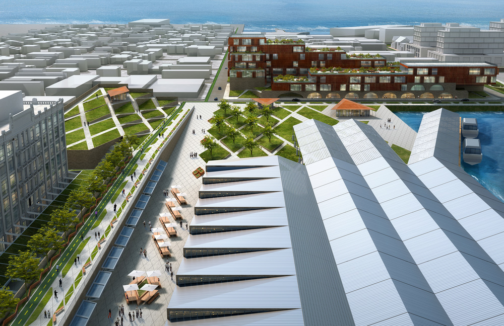 Est4te Four's Red Hook office complex and park, rendering by Raft Architects