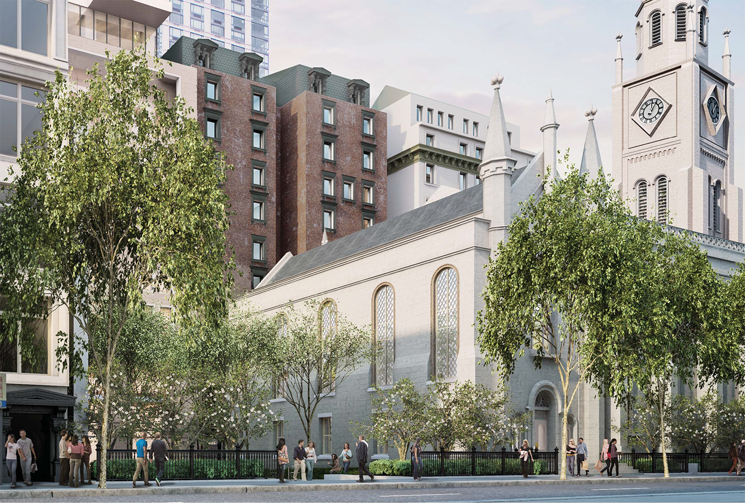 Rendering of the proposed new western facade for the church.