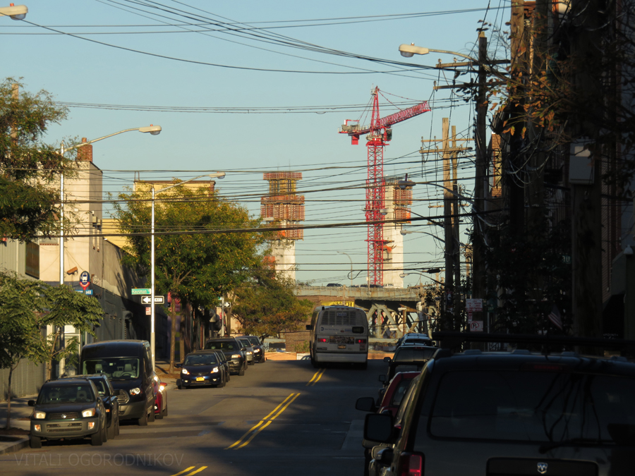 View to the east from Nassau Avenue in Greenpoint, Brooklyn