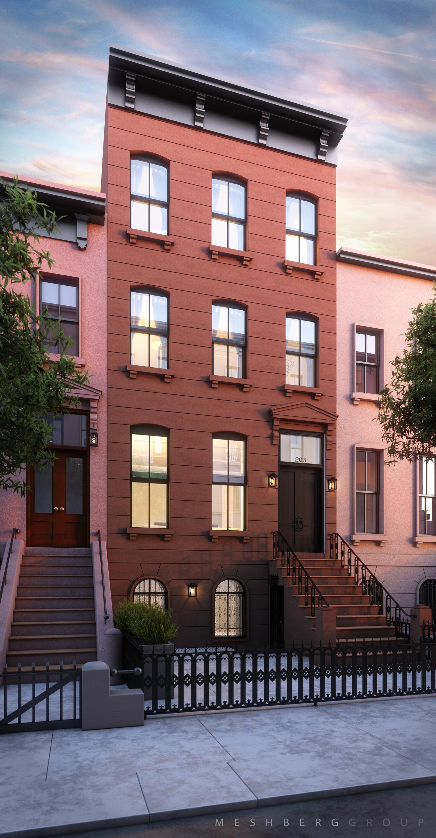 203 Bergen Street facade, rendering by Meshberg Group