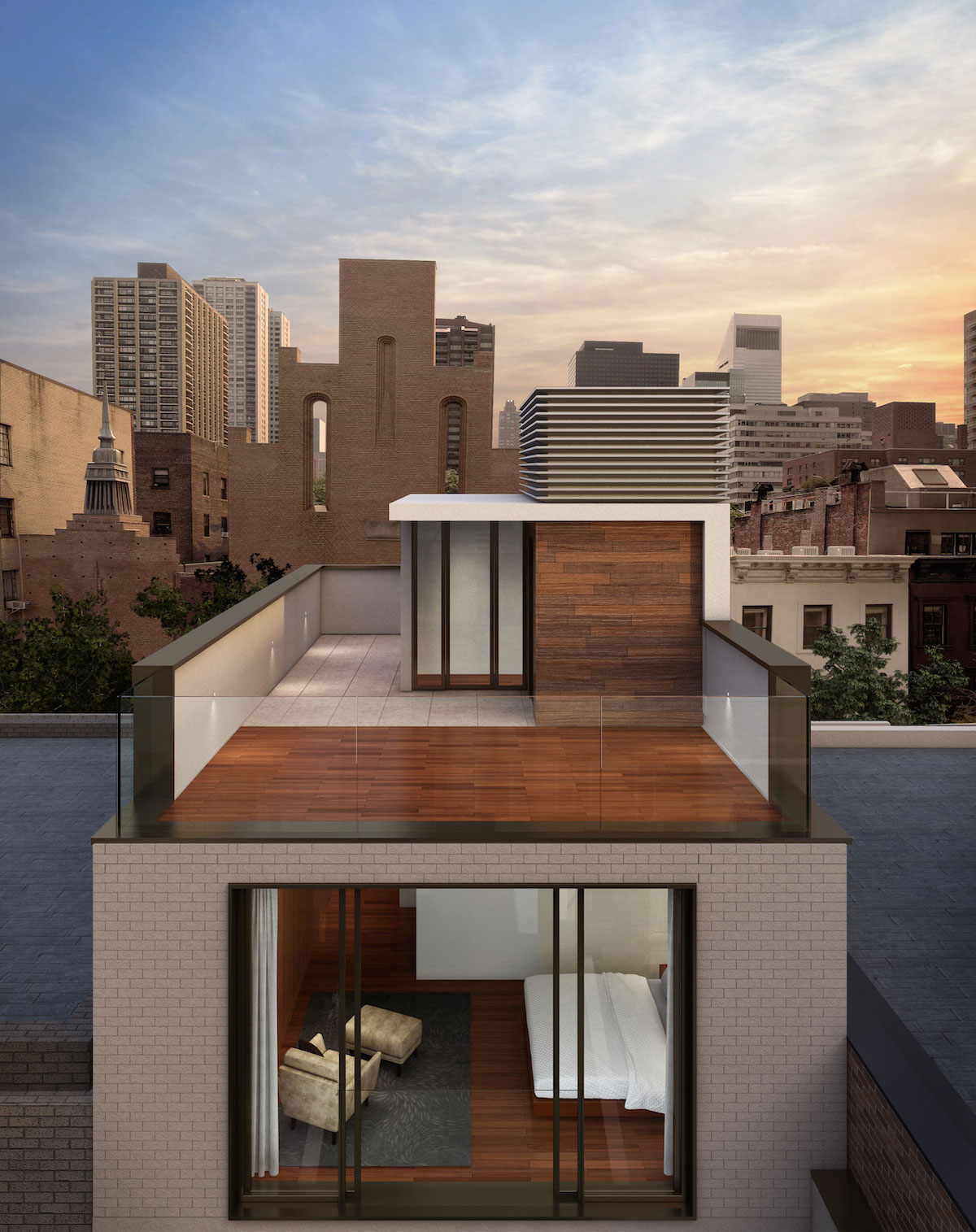 The roof deck of 251 East 61st Street, rendering by TRA Studio