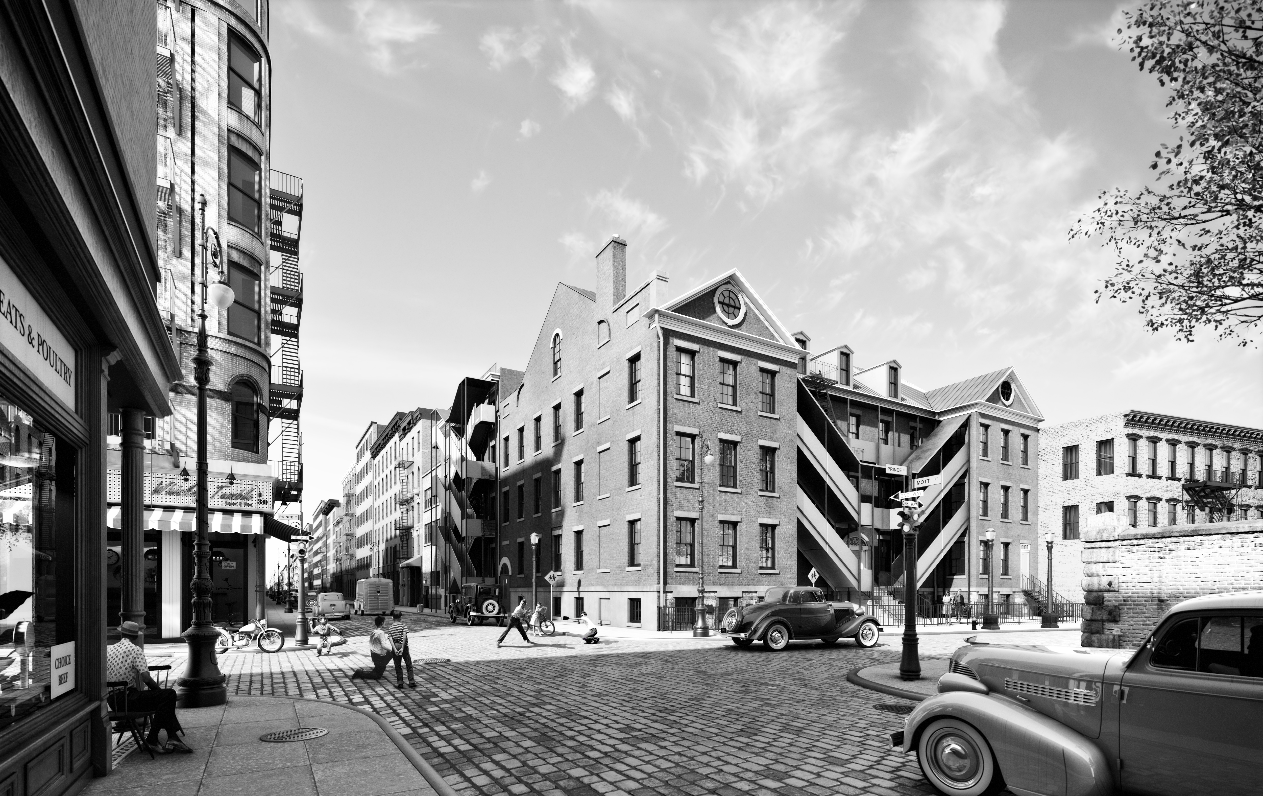 34 Prince Street in the 1940s, rendering by Marvel Architects