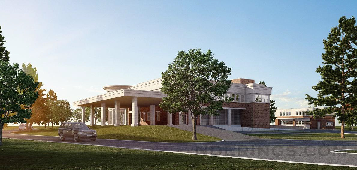 Rendering of the approved building for Meals on Wheels of Staten Island showing the canopy for pickups.