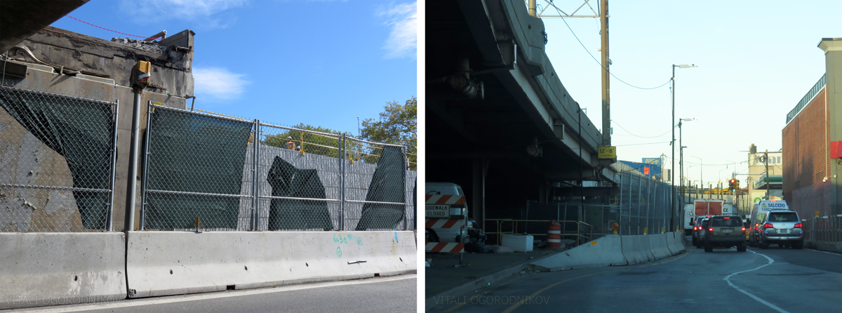 Demolition and construction take place simultaneously along the Brooklyn approach; looking northeast