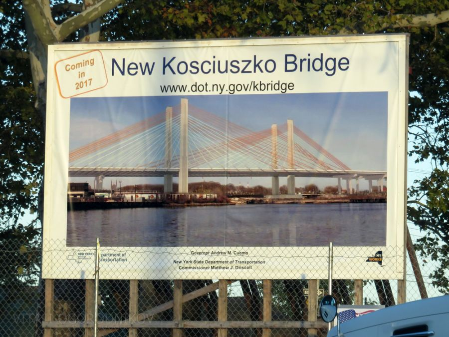 Bridge rendering at the construction site on the Brooklyn side
