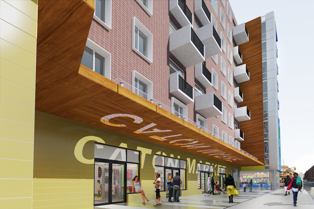 Caton Flats, the planned redevelopment of Flatbush Caton Market at 794 Flatbush Avenue. rendering by Freeform + Deform Architecture