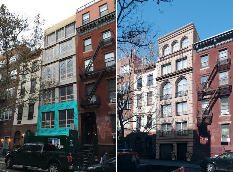327 East 9th Street, under construction (left) and rendering (right). Photo via EV Grieve.