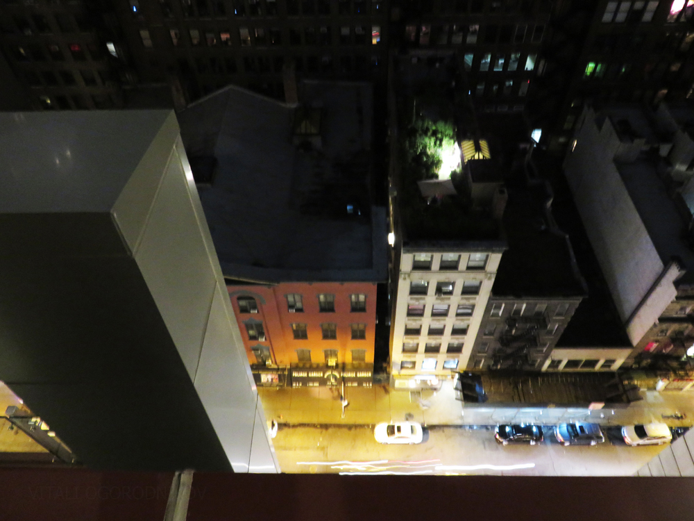 Looking down at West 28th Street from Hotel Cambria
