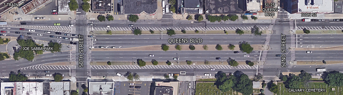 Current Queens Boulevard layout (image by Google Maps). Note: recent pavement modifications and bike lanes have not been introduced at the time the imagery was taken
