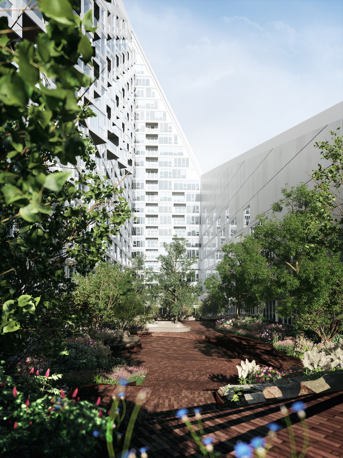 The courtyard of 625 West 57th Street, rendering courtesy of Durst Organization