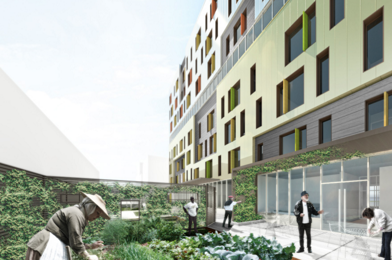 The green roof at 54-15 101st Street, rendering by Think Architecture and Design