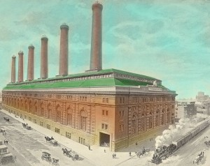 A historic image of the IRT Powerhouse, courtesy of the LPC.