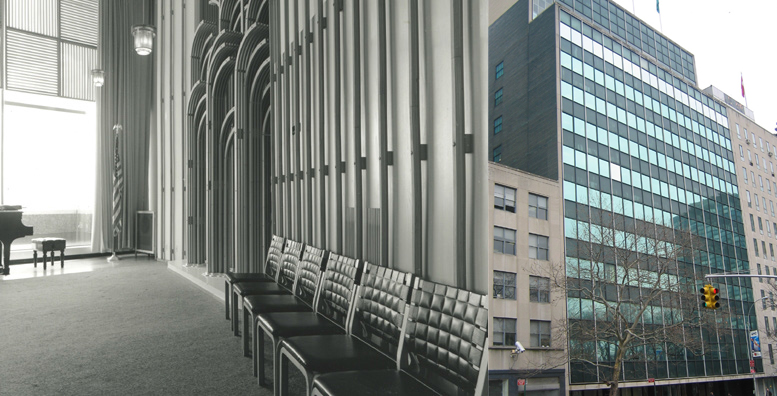 The Edgar J. Kaufman Conference Center (left) and 809 United Nations Plaza (right). LPC photos.
