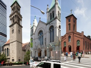 St. Michael's Episcopal Church, St. Paul's Church, and St. Joseph's Church. Photos courtesy Landmarks Preservation Commission.