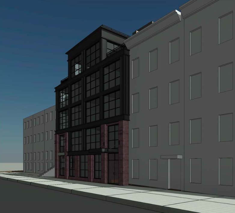 Looking west at 120 Java Street, rendering by Horrigan O'Malley Architects