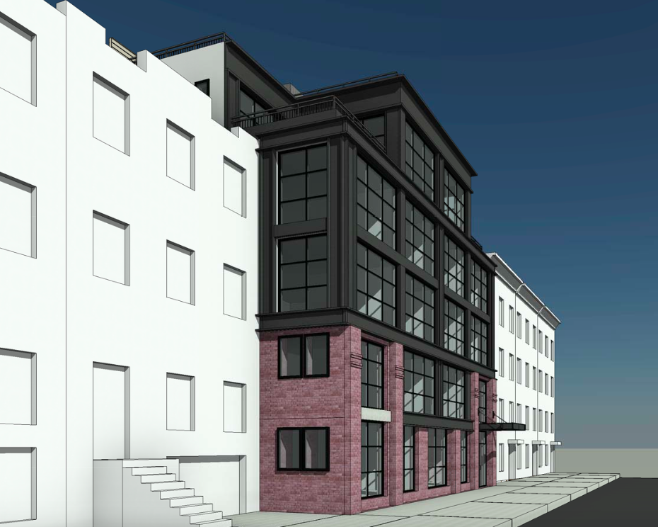 Looking east at 120 Java Street, rendering by Horrigan O'Malley Architects