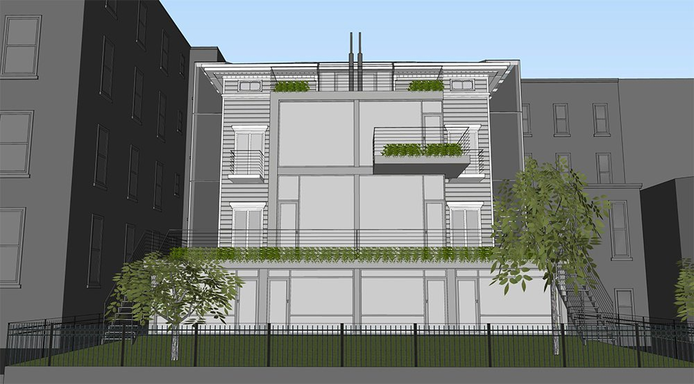 Previous proposal for the rear of 1375 Dean Street.