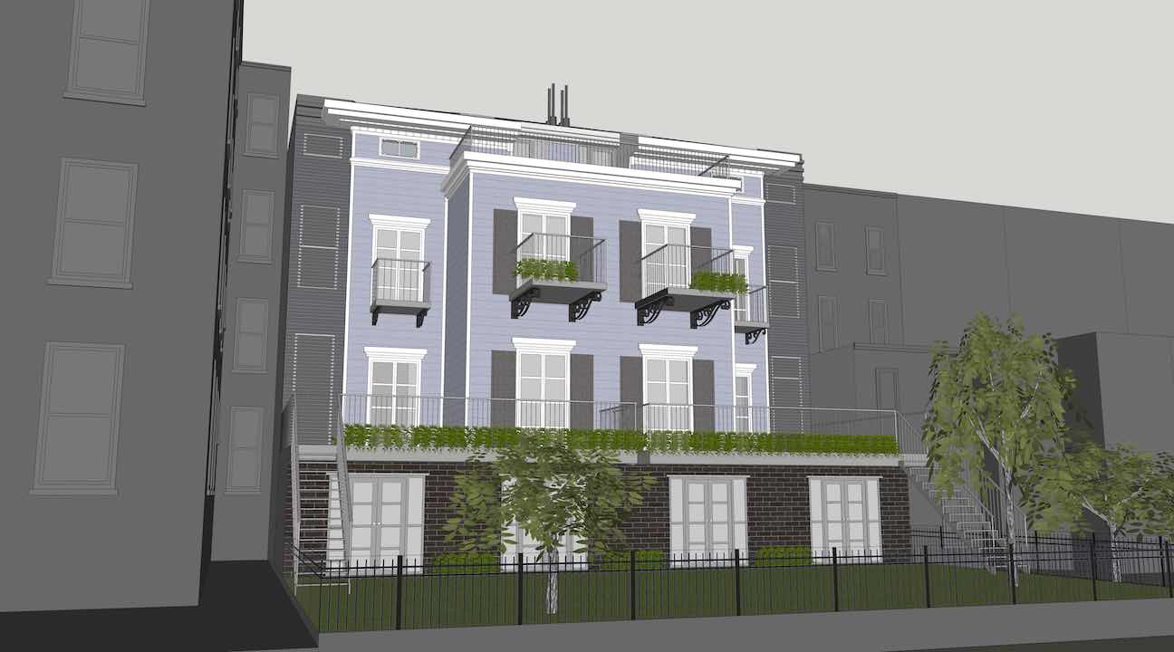 Rendering of proposed rear addition to 1375 Dean Street.