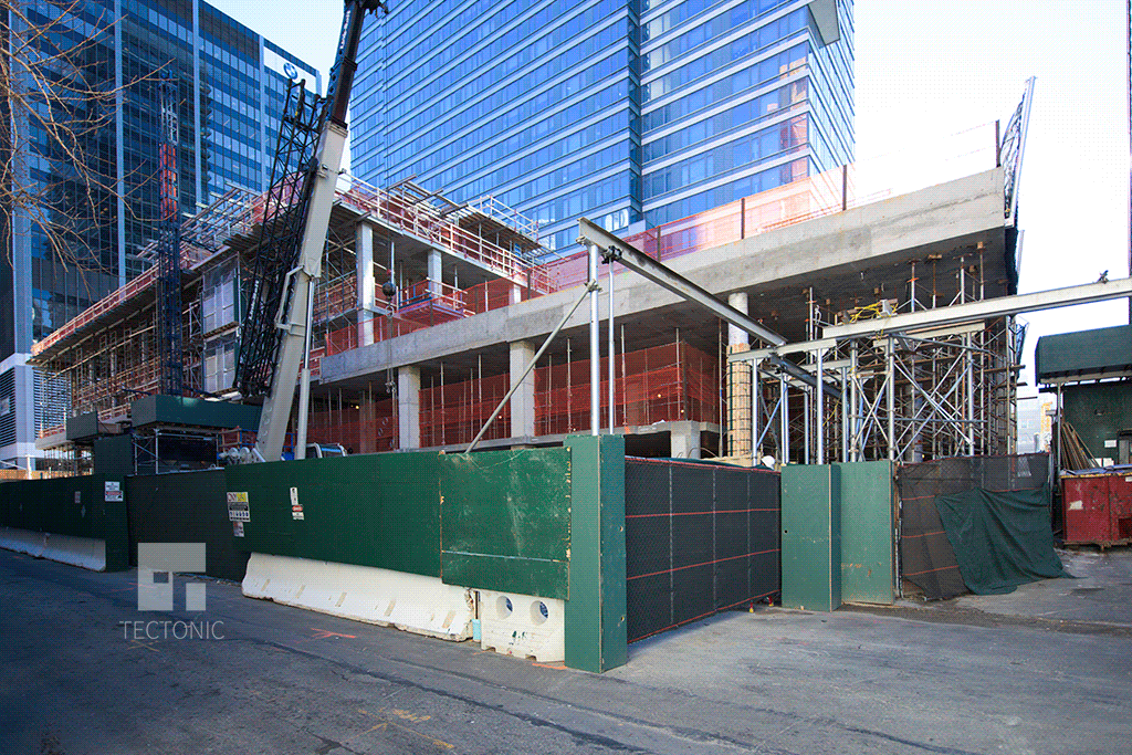 Construction at FRANK 57WEST, 600 West 58th Street. Photo by Tectonic.