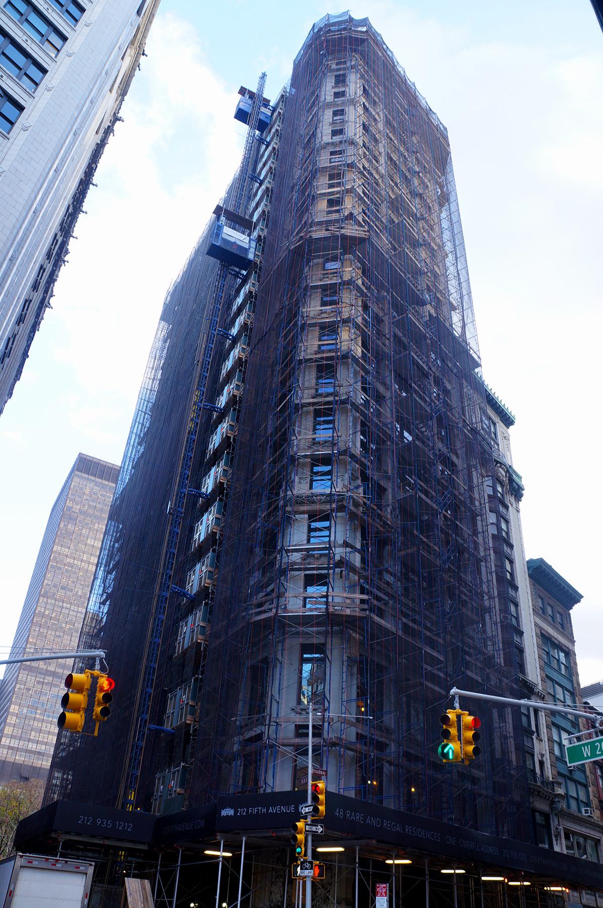 212 Fifth Avenue clad in scaffolding
