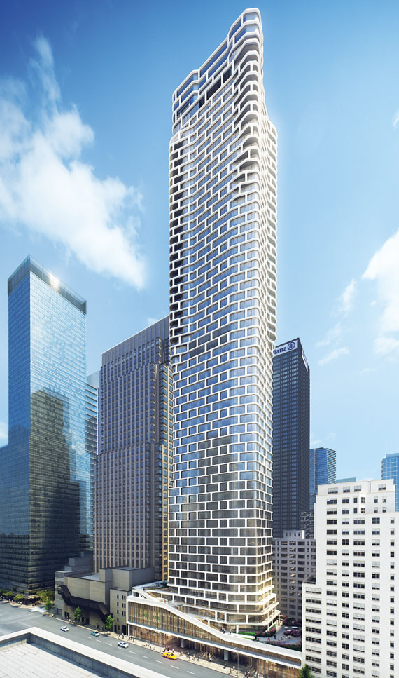Rendering of 242 West 53rd Street. Via CetraRuddy.