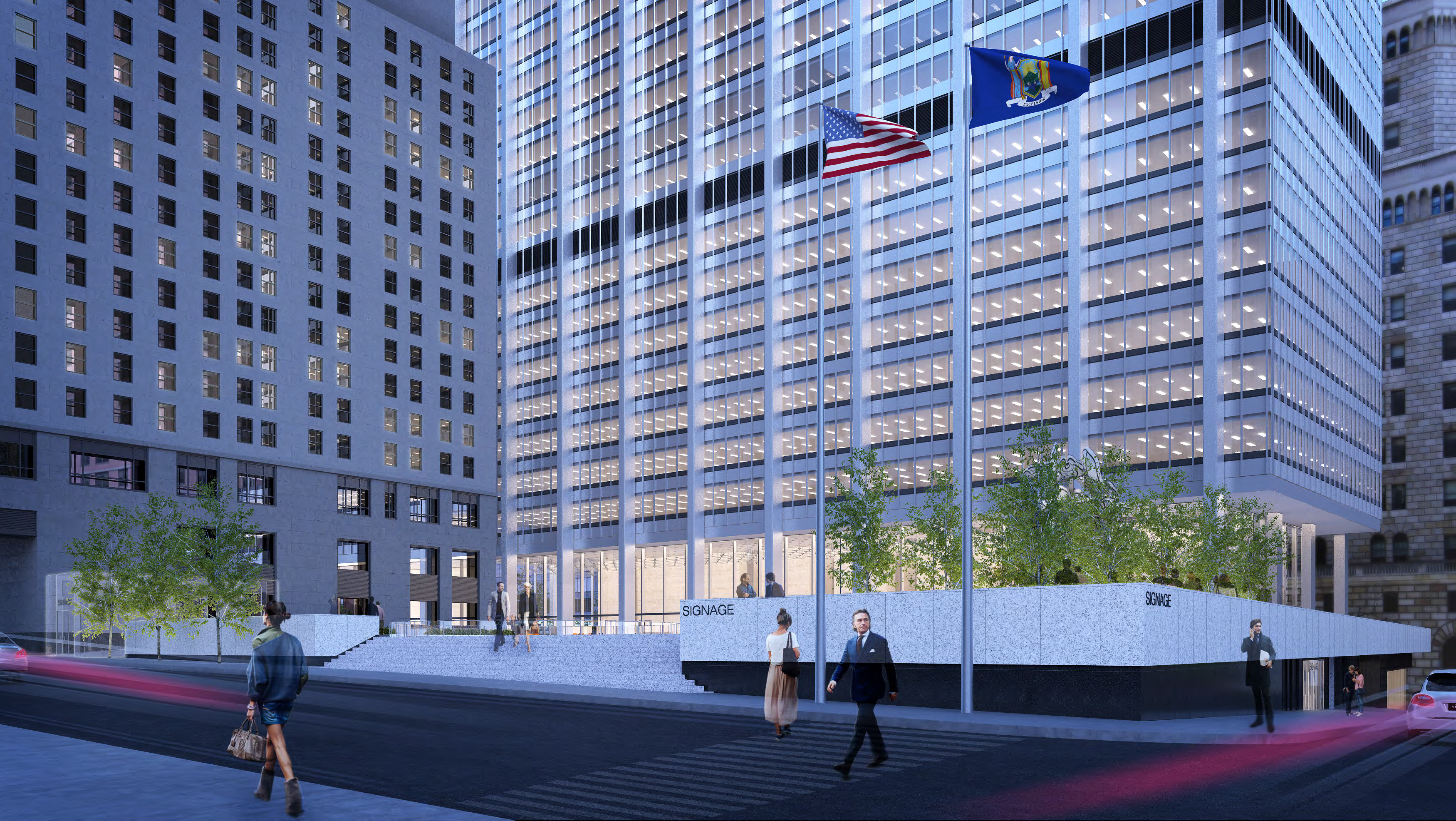 Rendering of 28 Liberty Street, southeast corner.