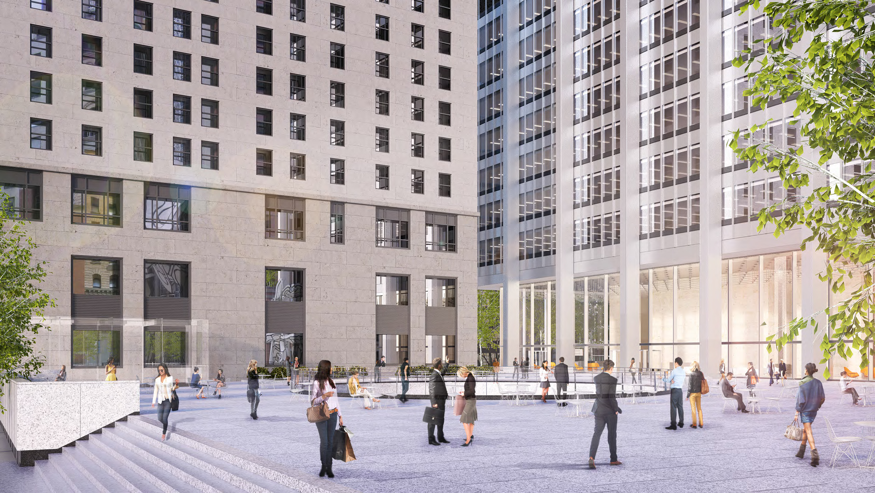 Rendering of the plaza at 28 Liberty Street as seen from the Pine Street entrance.
