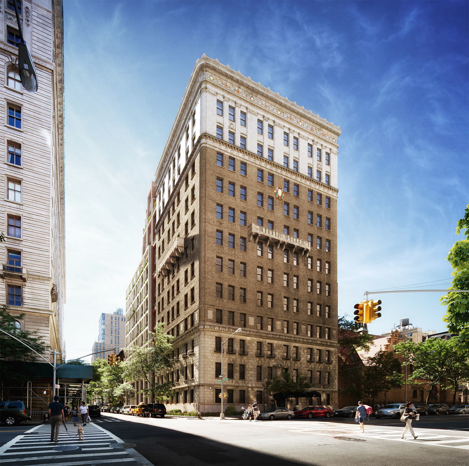 Rendering of the restored 378 West End Avenue with the new building to its east. By COOKFOX.