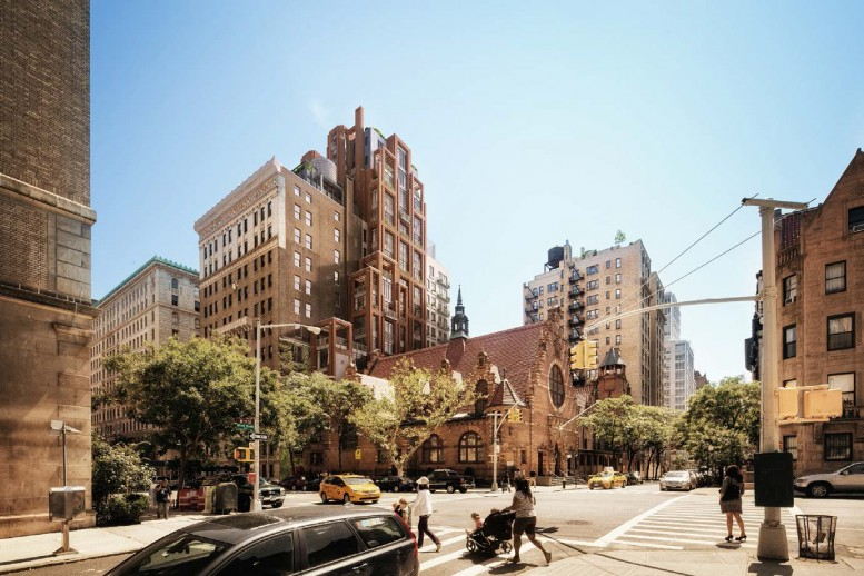 Rendering of the West End Collegiate Church, 378 West End Avenue, and the replacement for 260 West 78th Street. By COOKFOX.