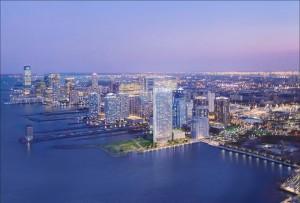Rendering of LeFrak's 43-story building in Newport, Jersey City. Credit: Arquitectonica
