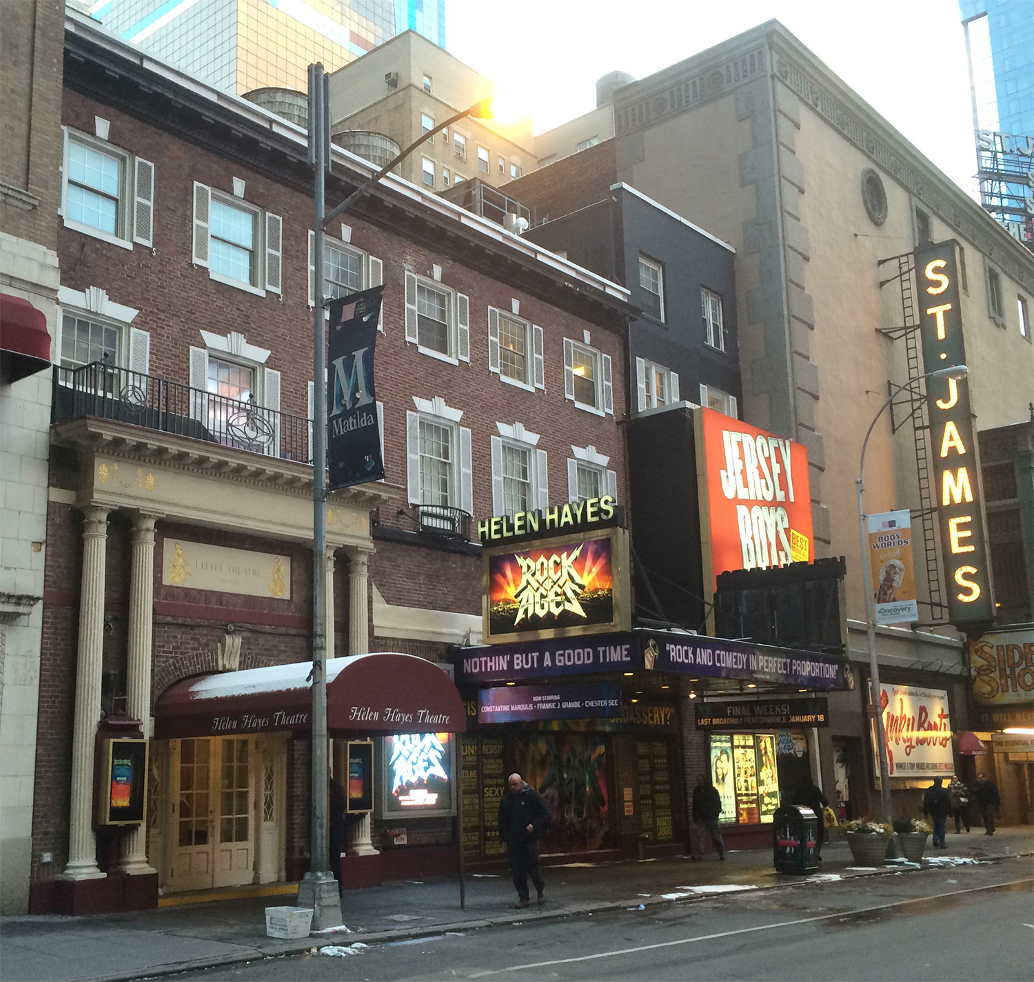 Recent conditions at the Helen Hayes Theater.