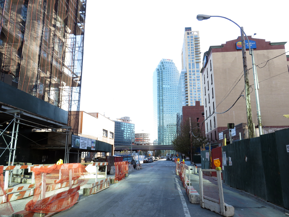 Crescent Street looking southwest, with 42-15 Crescent under construction on the left and 42-14 on the right