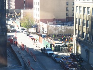 Construction at 42-14 Crescent Street, looking southwest; Factory House is under construction in the upper right corner, the 38 Crescent Street site is in the front of Factory House, and 42-15 Crescent Street is in the foreground on the left