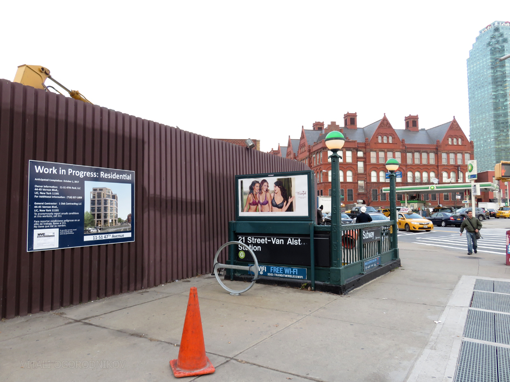 Subway entrance on Jackson Avenue, with the MoMA PS1 directly behind