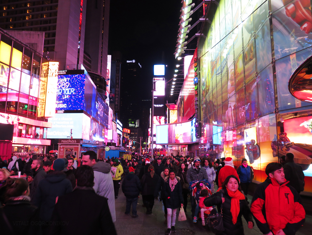 Looking north along Times Square