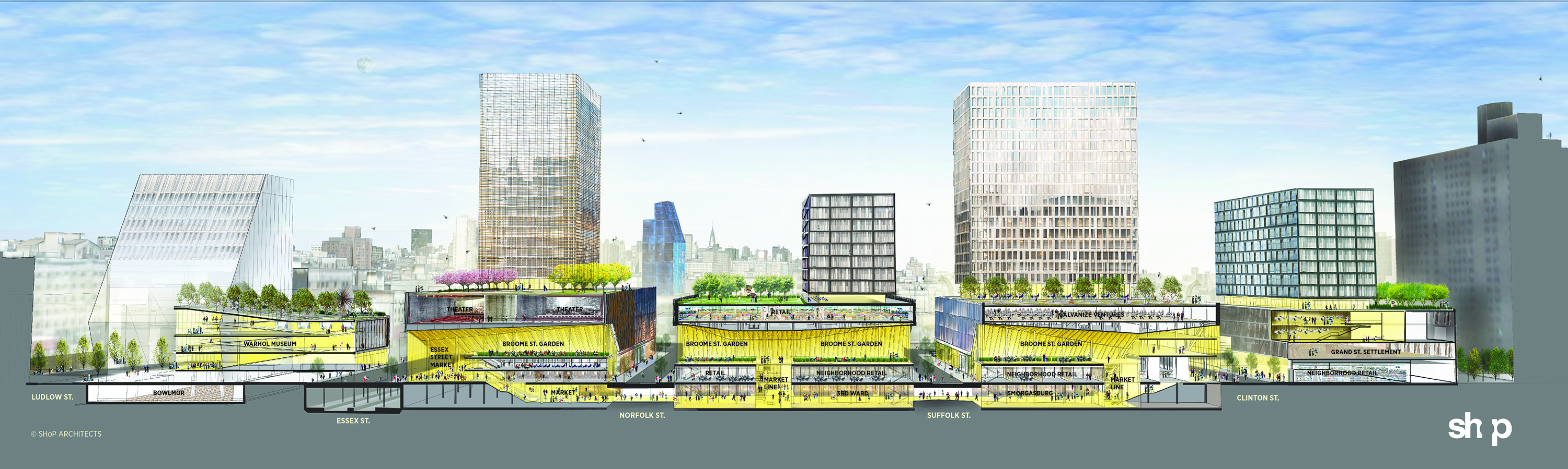 Market Line schematic, showing sites 2, 3, and 4 connected. Via Curbed.