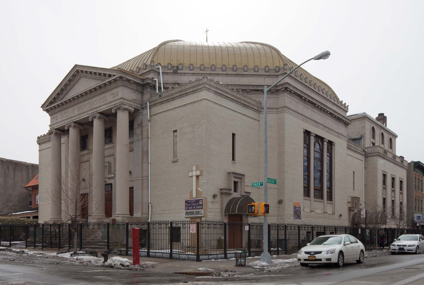 The former Shaari Zedek Synagogue on Kingston Avenue. LPC photo.
