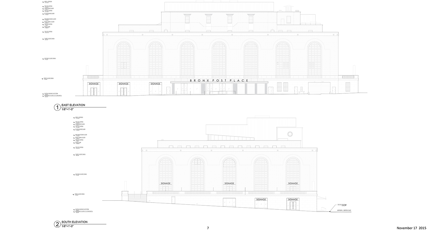 Bronx General Post Office renovation, newly approved plan.