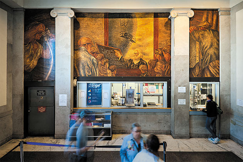A more recent photograph showing some of the murals inside the Bronx General Post Office.