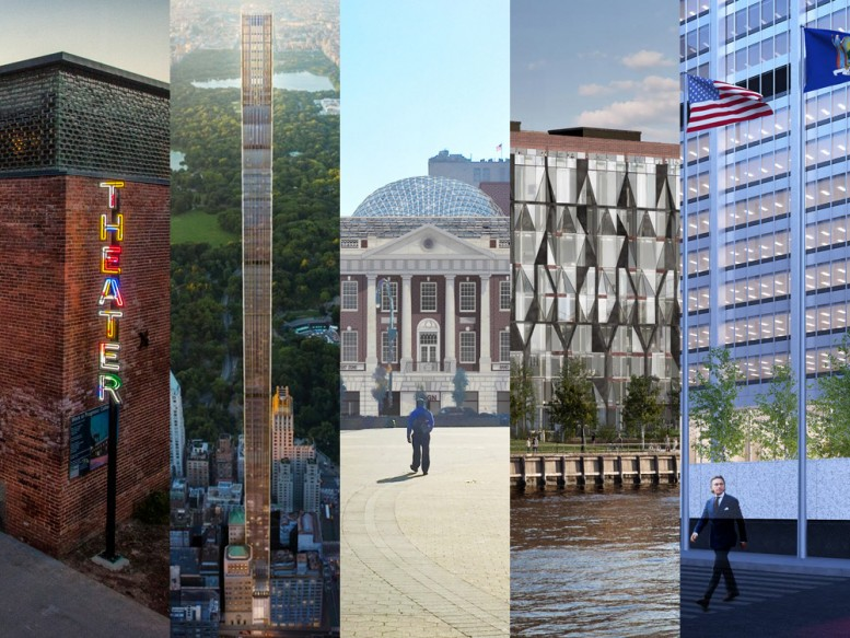 Some of biggest current adaptive reuse projects: St. Ann's Warehouse (via Curbed NY), 111 West 57th Street, Tammany Hall, 10 Jay Street, and 28 Liberty Street