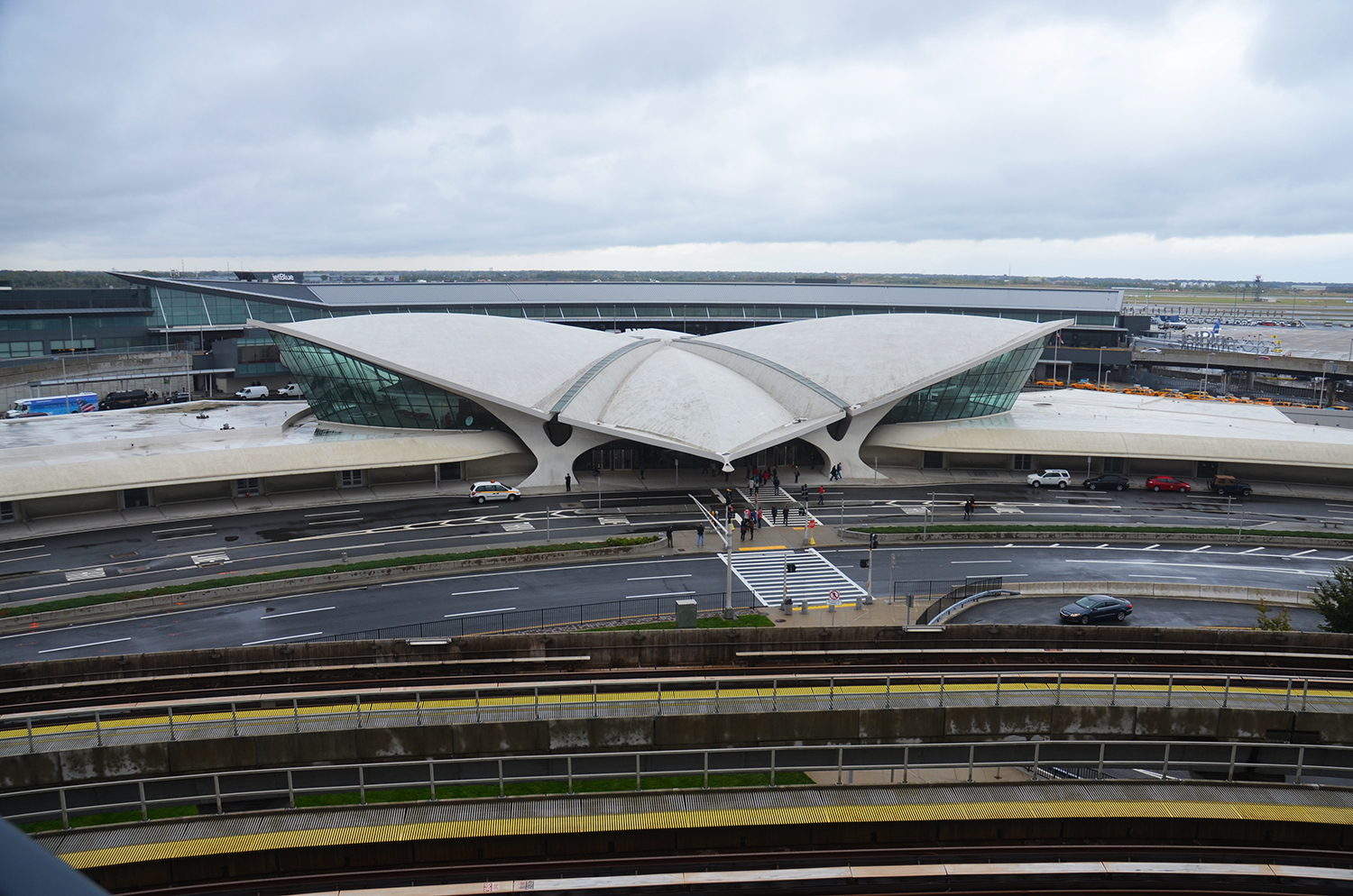 The TWA Flight Center with JetBlue Airways Terminal 5 as seen in October 2014. Photograph by Evan Bindelglass