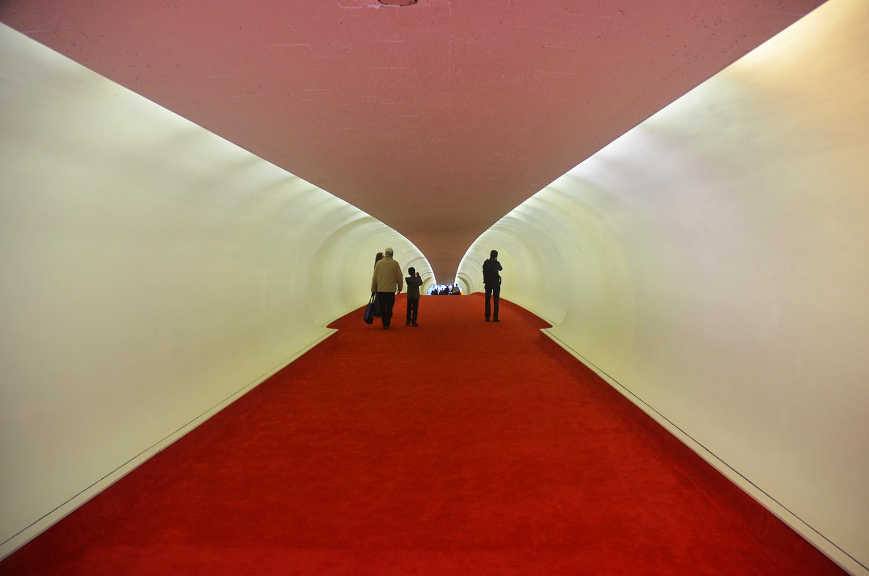 Flight tube at the TWA Flight Center as seen in October 2014. Photograph by Evan Bindelglass.