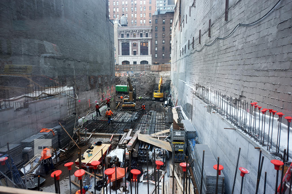 Construction at 242 West 53rd Street, as seen from 52nd Street. Photo by Tectonic.